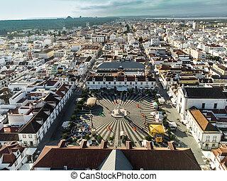 Aerial view of Vila Real de Santo Antonio, south of Portugal