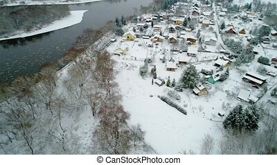 aerial view of vilage at winter