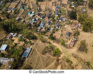Aerial view of village in Nepal
