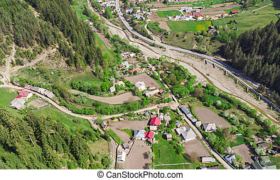 aerial view of village in the spring. Romania