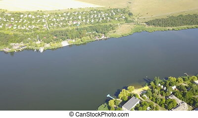 Aerial View Of Village Near River, Drone Shot Of Rural...