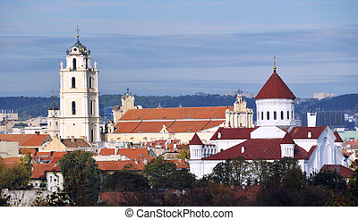 Cathedral and church in Vilnius, capital of Lithuania with autumn sky at the background