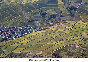 Aerial view of vineyards in Southern Germany