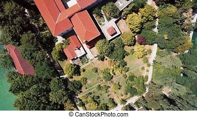 Aerial view of Visovac Monastery on Krka river, Croatia