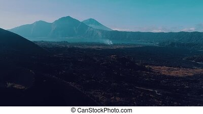 Aerial view of volcanic rocky landscape in Bali - Aerial...