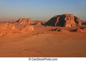 Aerial view of Wadi Rum - Wadi Rum: Desert in Jordan