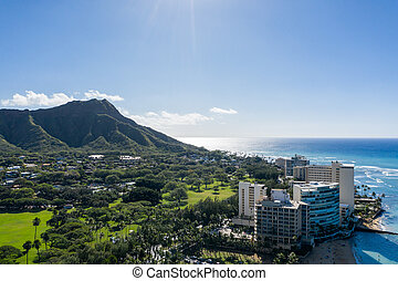 Aerial view of Waikiki looking towards Diamond Head on Oahu