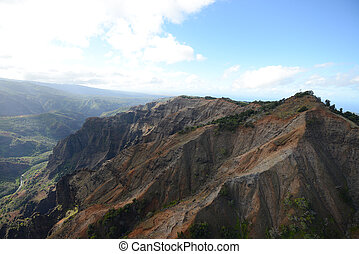 aerial view of waimea canyon