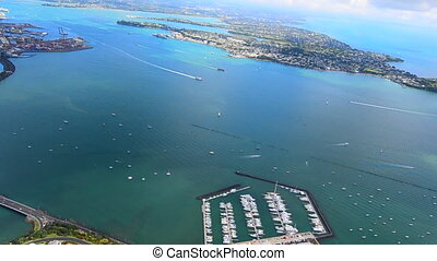 Aerial view of Waitemata Habour in Auckland New Zealand