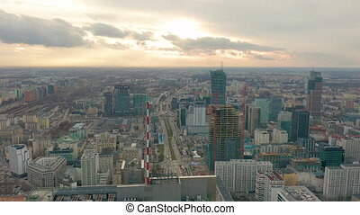 Aerial view of Warsaw dawntown, Palace of Culture, Poland -...