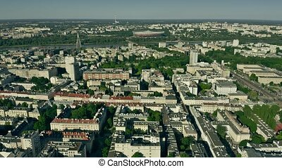 Aerial view of Warsaw from the city centre towards the Vistula River. Poland