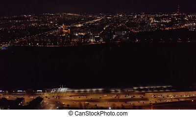Aerial view of Warsaw, Poland at Night - 4k. Aerial view of...