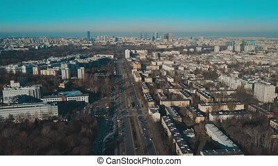 Aerial view of Warsaw skyline on a sunny winter day, Poland