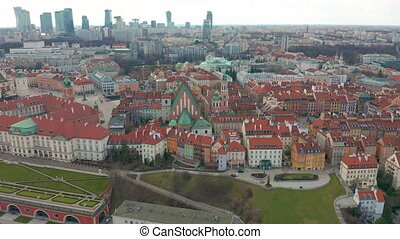 Aerial view of Warsaw skyline with Old town.