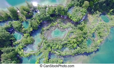 Aerial view of waterfalls and lakes in Plitvice National...