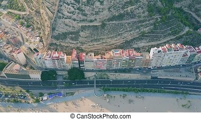 Aerial view of waterfront apartment houses in Alicante,...
