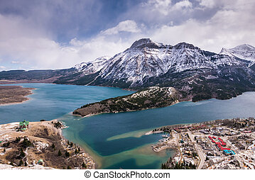 Aerial view of Waterton Lakes from the Bear's Hump.