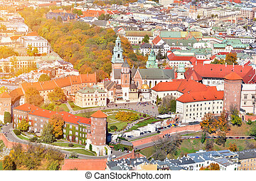 Aerial view of Wawel Castle in Krakow, Poland.