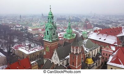 Aerial view of Wawel royal Castle and Cathedral, Vistula...