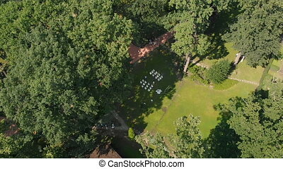 Aerial View of Wedding Ceremony in Park - Aerial top view...