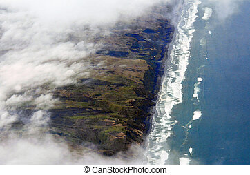 Aerial view of West Auckland coastline