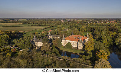 Aerial view of Westerwinkel moated castle in North-Rhine Westphalia