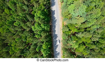 Aerial view of white car driving on road in forest. Slow