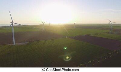 Aerial view of wind power generators in Ukraine