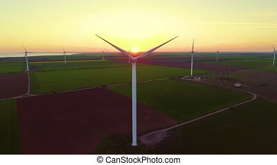 Aerial view of Wind turbines Energy Production