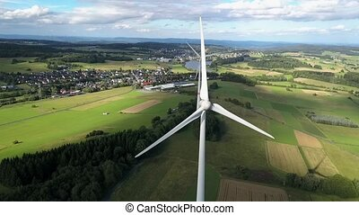 Aerial view of wind turbines - Wind turbines for sustainable...