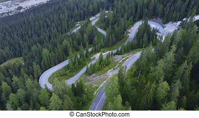 Aerial view of winding road in the mountains and green forest