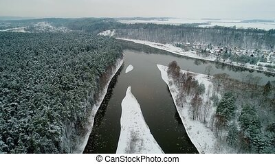 aerial view of winter forest and river - aerial view of...