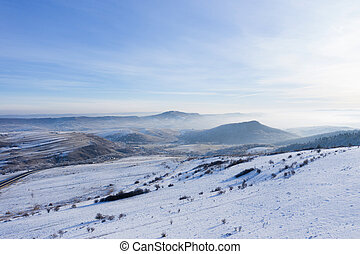 Aerial view of winter landscape in a bright sunny day
