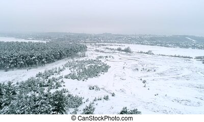 Aerial view of winter landscape