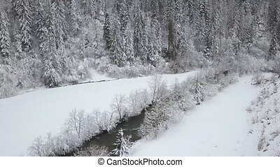 Aerial view of winter mountain river surrounded by trees and banks of snow-covered