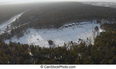 Aerial view of winter ski base