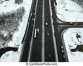 Aerial view of winter snowy road in Moscow