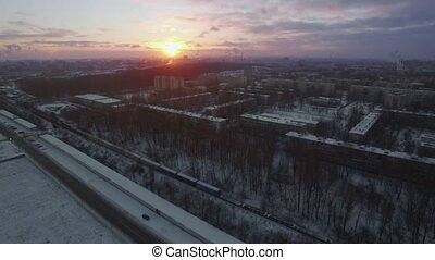 Aerial view of winter St. Petersburg at sunrise, Russia