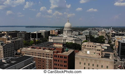 Aerial View of Wisconsin State Capitol Building on Sunny Summer Day. Madison USA