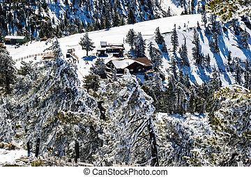Aerial view of wooden lodge in Mount San Antonio (Mt Baldy), Los Angeles county, California