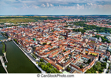 Aerial view of Wurzburg in Lower Franconia, Germany