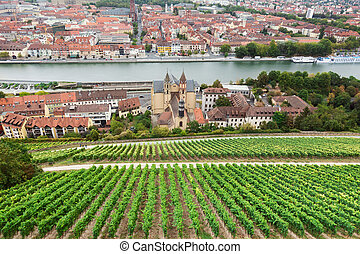 Aerial view of Wurzburg skyline and Main river in beautiful evening light at sunset in summer, Germany