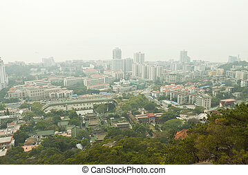 Aerial view of Xiamen city downtown, China.