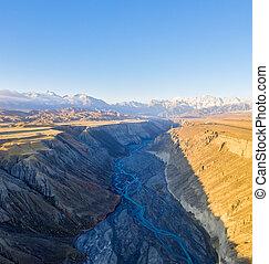 aerial view of xinjiang anjihai grand canyon
