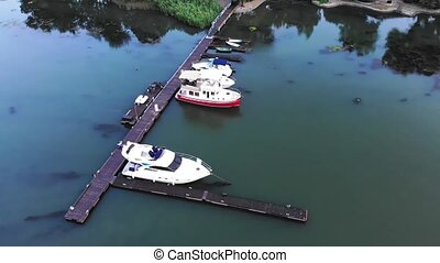 Aerial view of yachts and boats