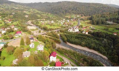 Aerial view of Yaremche and Prut River in Carpathian Mountains