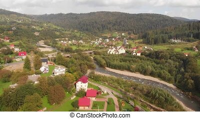 Aerial View of Yaremche, Ukraine in the Carpathian Mountains