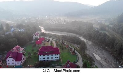 Aerial View of Yaremche, Ukraine in the Early Morning