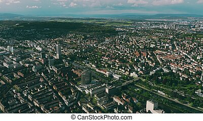 Aerial view of Zurich and the River Limmat, Switzerland