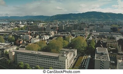 Aerial view of Zurich cityscape and railroad